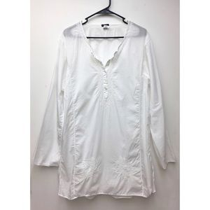 J. CREW white embroidered swim cover up sz large